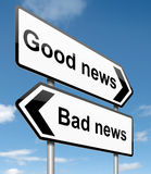 Good or bad news. Illustration depicting roadsigns with a news concept. Blue sky  background Royalty Free Stock Photos