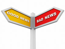 Good or bad news. Good news on one hand and bad news at another, concept of way to good or bad results, signboard with text against a white background Royalty Free Stock Images