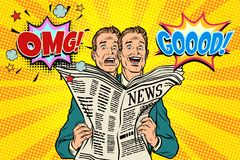 Good and bad newspaper news, the reaction of men stock illustration