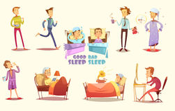 Good And Bad Sleep Icons Retro Cartoon Set. Different causes of good and bad sleep flat icons on light background retro cartoon  vector illustration Stock Image