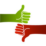 Good bad thumbs up and down. Illustration of hands with thumb up or down with red and green color, as valuation concept Stock Image