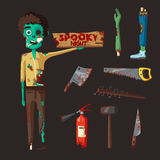 Good and bad zombie character. Cartoon vector illustration Royalty Free Stock Photography