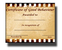 Good behaviour. Certificate of good behaviour with some stains on it stock illustration