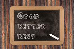 Good - better - best  - chalkboard Royalty Free Stock Photography