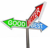 Good Better Best Choices - 3 Colorful Arrow Signs Royalty Free Stock Photography