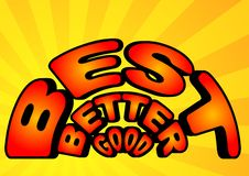 Good, better and best in colorful comic style word Royalty Free Stock Photography
