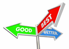 Good Better Best Three Road Street Sign Choices Stock Photo
