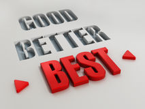 Good, better and best. Words with highlighted red best Stock Image