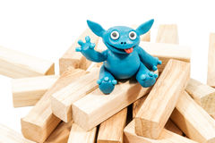 Good blue plasticine monster close-up Stock Image