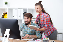 Good boss and his assistant Royalty Free Stock Image