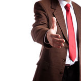 Good business. Isolated on white background, focus point on hand of businessman (selective stock photography