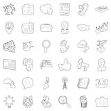 Good business icons set, outline style. Good business icons set. Outline style of 36 good business vector icons for web isolated on white background Royalty Free Stock Photo