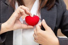 Good business service from heart love care help and support customer. Working concept stock photo