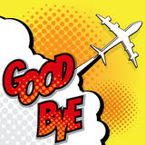 Good bye with airplane pop art background Stock Image
