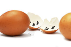 isolated white background.Good bye eggshell Stock Photo