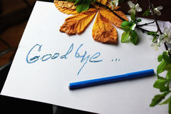 Good Bye Message. Hand written message Good Bye on a piece pf paper, concept of relationship royalty free stock images