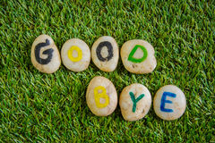 Good bye paint on stone , on the grass Royalty Free Stock Photography