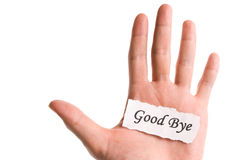 Good bye word in hand Royalty Free Stock Images