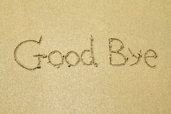 Good bye written in the sand Stock Images