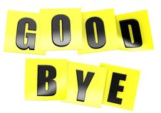 Good bye in yellow note Royalty Free Stock Photos