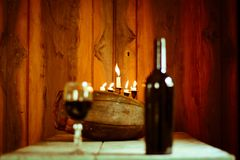 A good candle wine, and a good atmosphere. Waiting to celebrate with a good wine stock photos