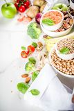Good carbohydrate fiber rich food. Healthy food. Selection of good carbohydrate sources, high fiber rich food. Low glycemic index diet. Fresh vegetables, fruits royalty free stock photography