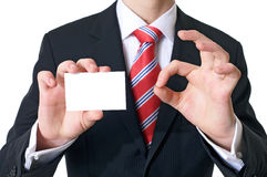 Good card. Businessman showing his visiting card - introduction - formal presentation of a person Royalty Free Stock Photo