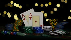 Good card combination, two aces, chance to win. Close up. Combination of poker. Pair of aces, good card combination, one pair of aces, poker game on gamblimg stock video