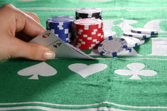 Good Cards. Two aces in a game of Texas hold'em poker Royalty Free Stock Photography