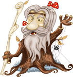 Good cartoon wooden man with mushrooms Royalty Free Stock Images