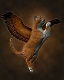 The Good Cat (Brown). 3d render of a good cat with wings ascending to heaven