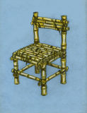 Good chair. Chair made of bamboo planks tied with ropes Stock Images