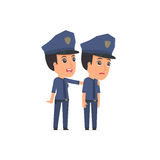Good Character Constabulary cares and helps to his friend in dif Stock Photos