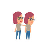 Good Character Girl Designer cares and helps to his friend. In difficult times. Poses for interaction with other characters from this series Royalty Free Stock Image