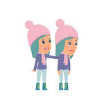 Good Character Winter Girl cares and helps to his friend Royalty Free Stock Images
