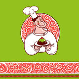 Good chef with a cake on  plate and  beautiful pattern. Ruddy cheerful cook with a cake and a nice frosty patterned background Stock Photo