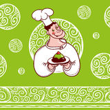 Good chef with a cake on plate and beautiful pattern. Ruddy cheerful cook with a cake and a nice frosty seamless patterned background Stock Images