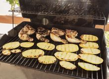 Chicken and potatoes on the grill in summer royalty free stock photography