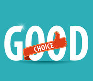 Good choice flat colors typography with thumb up icon Royalty Free Stock Photo