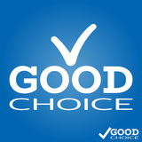 Good Choice icon with hook, V on logo top. Advice word and tick. Vector Royalty Free Stock Image