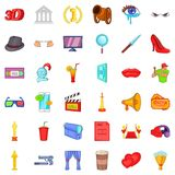 Good cinema icons set, cartoon style. Good cinema icons set. Cartoon style of 36 good cinema vector icons for web isolated on white background Royalty Free Stock Photography