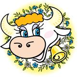 A good cow in flowers Royalty Free Stock Images