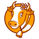 Good cow smiling emblem. Illustration, good cow smiling emblem, format EPS 8 Stock Photography