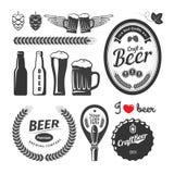 Good craft beer brewery labels, emblems and design elements. Vintage vector set.  stock illustration