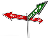 Good credit. Boards pointing towards bad credit and one arrow in green pointing towards good credit, credit score concept vector illustration
