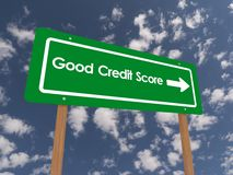 Good credit score sign. With directional arrow, blue sky and cloudscape background Royalty Free Stock Images