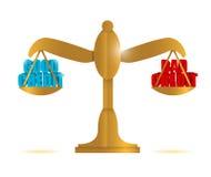 Good credit vs bad credit balance illustration Royalty Free Stock Images