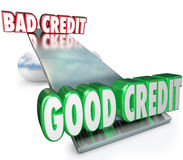 Good Credit Vs Bad See Saw Balance Scale Improve Rating. Good Credit vs Bad illustrated on a scale, see-saw or balance as a comparison of improving money Stock Images