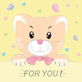 Good cute cat. Greeting card. Royalty Free Stock Photography