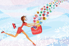 Good day. Girl catches gifts falling from the sky - vector illustration Stock Photo